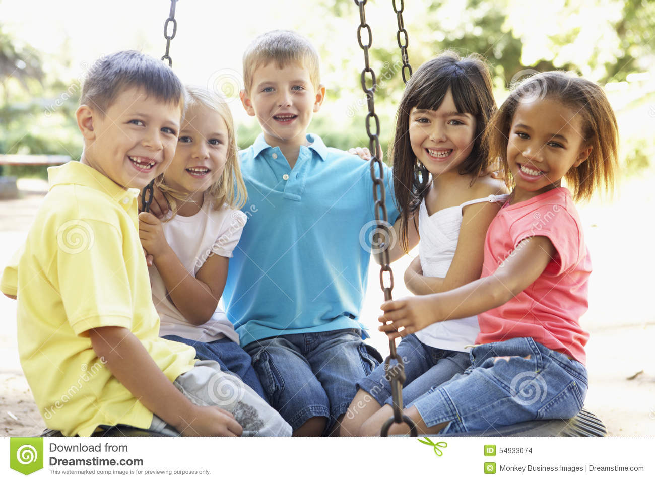Group Of Children Having Fun In Playground Together Stock ...