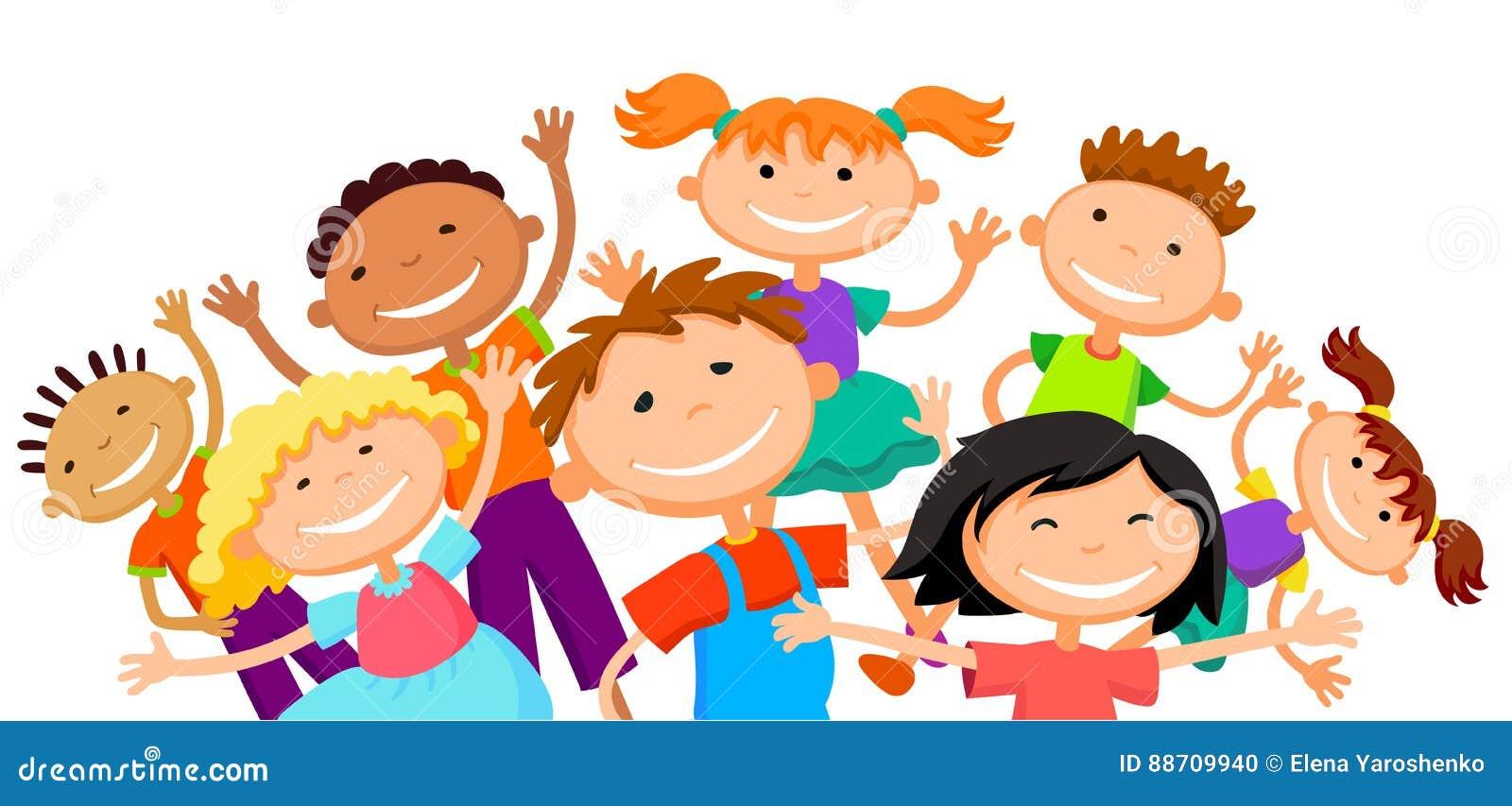 Group of children kids are jumping joyful white background bunner cartoon funny vector character. illustration