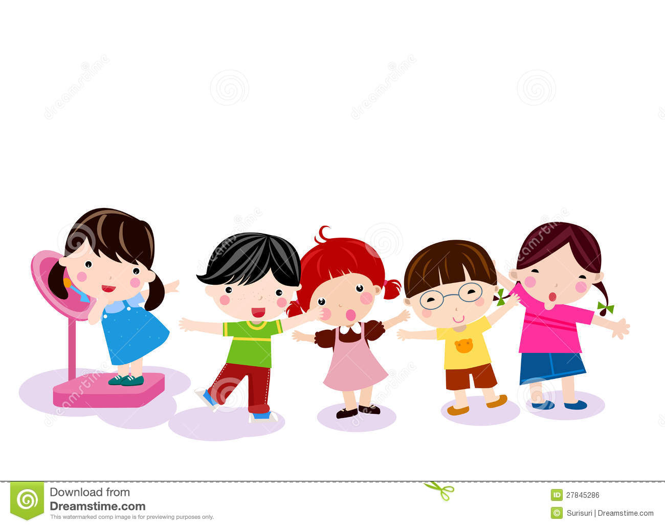 Measuring Weight Cartoon Group Of Children Meas...