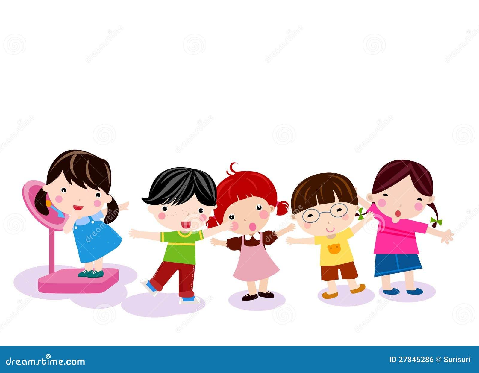 Measuring Weight Cartoon Group Of Children Meas...