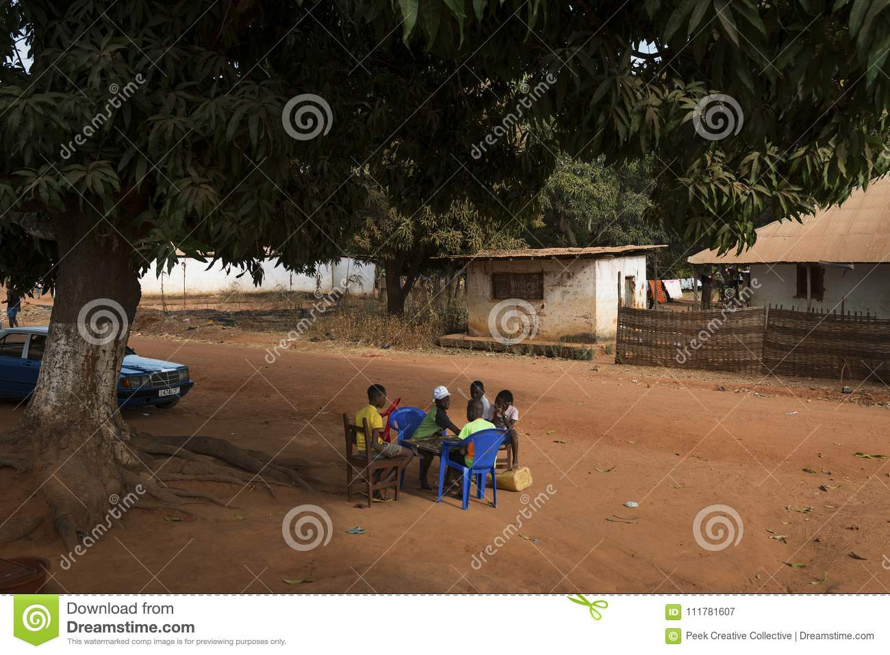 Group of children playing a game of checkers under a tree in the town of Nhacra in Guinea Bissau
