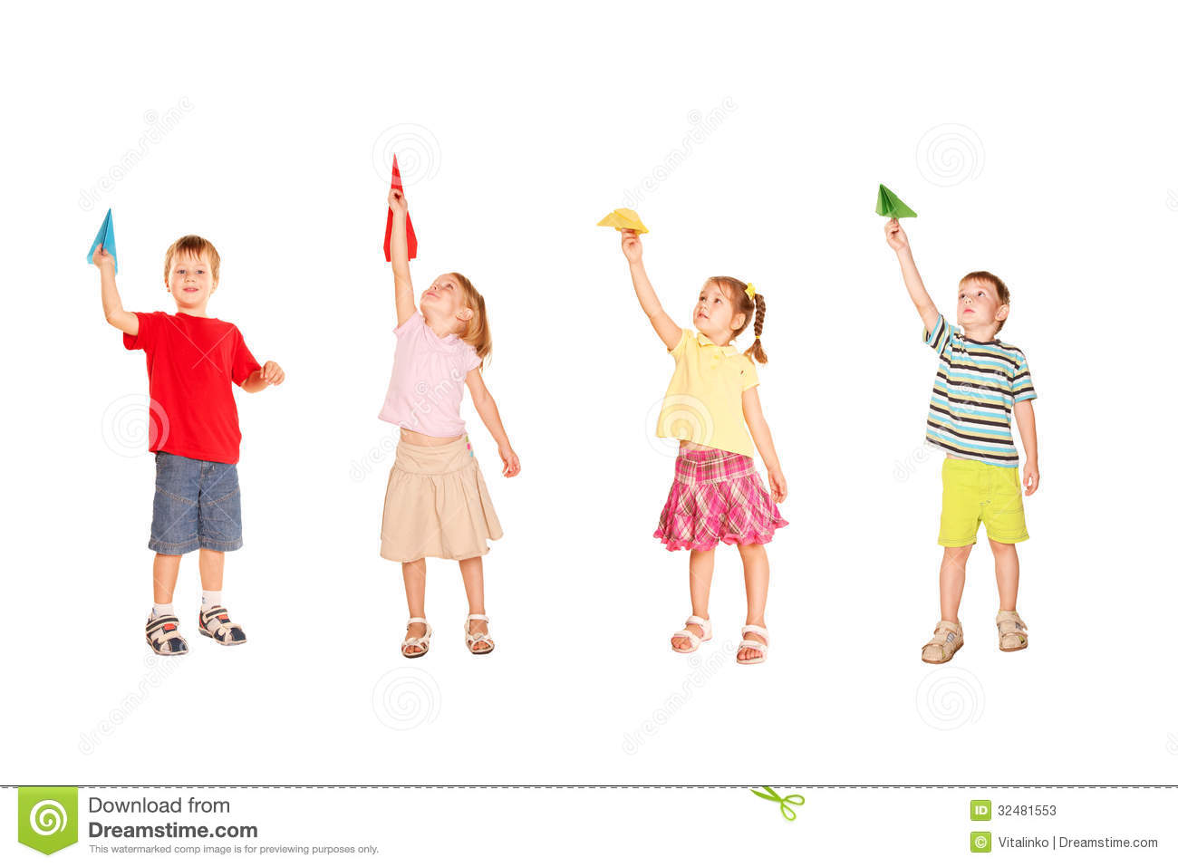 Group of children playing with paper airplanes, starting them fly up ...