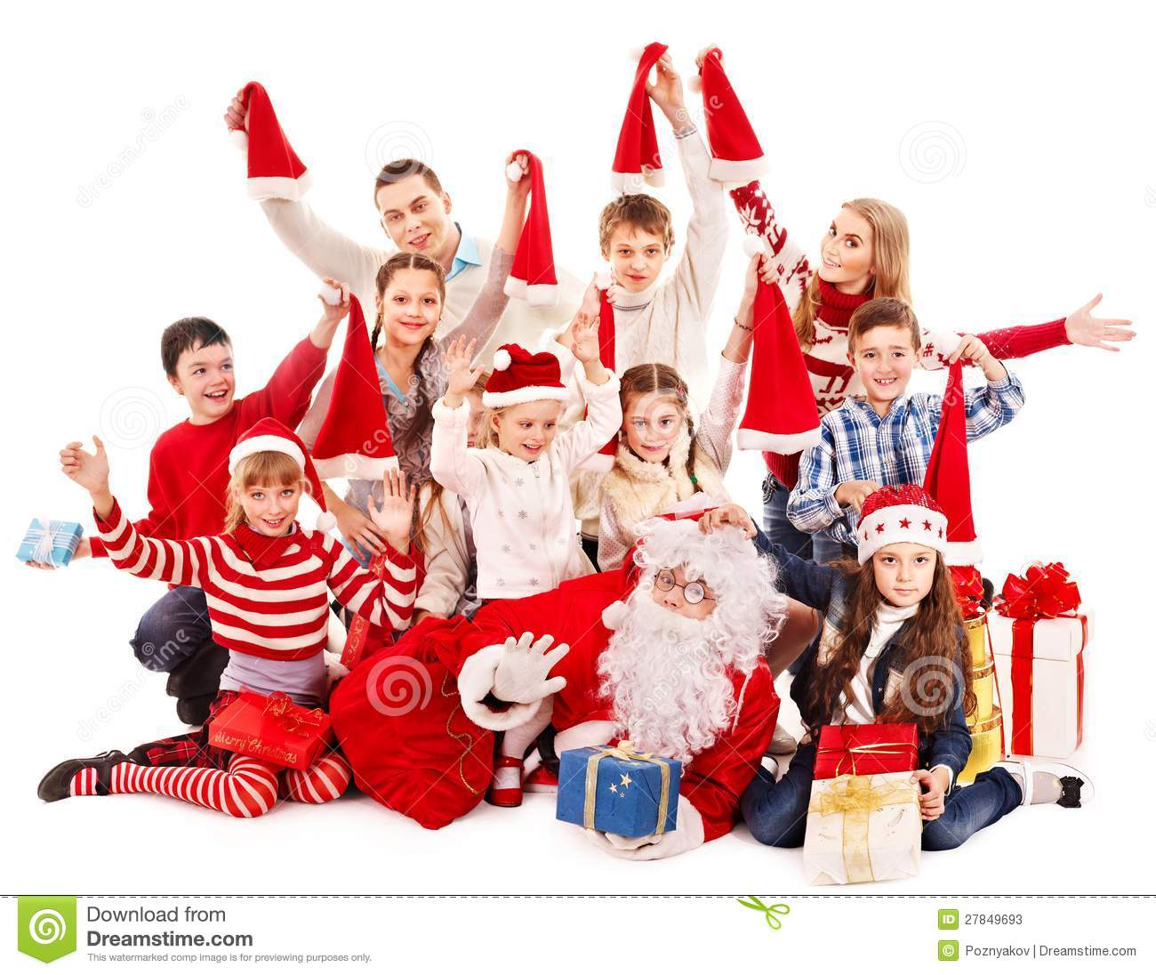 group of children with santa claus girl december - Santa Claus Children