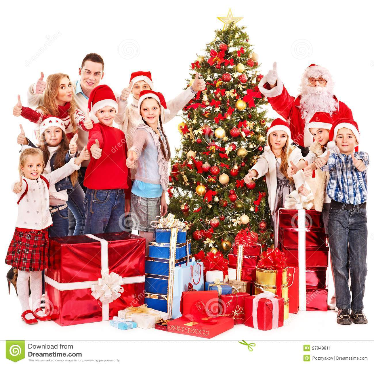 Group of children with santa claus stock image