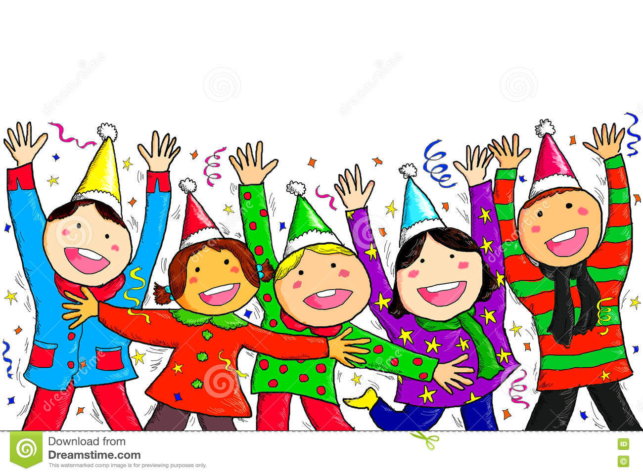 group children seasons greetings happy new year merry christmas