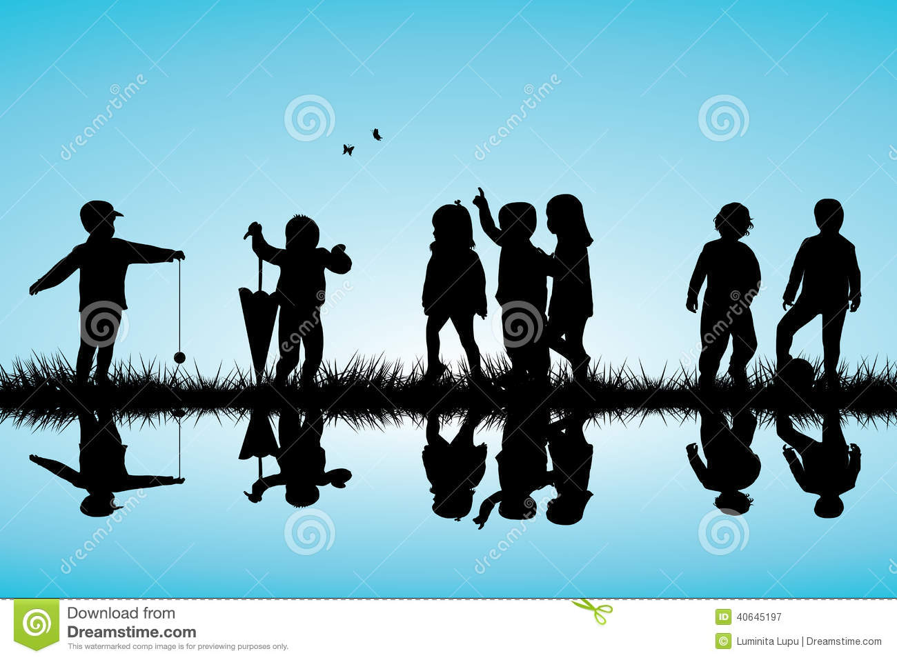 Group of children silhouettes playing outdoor near