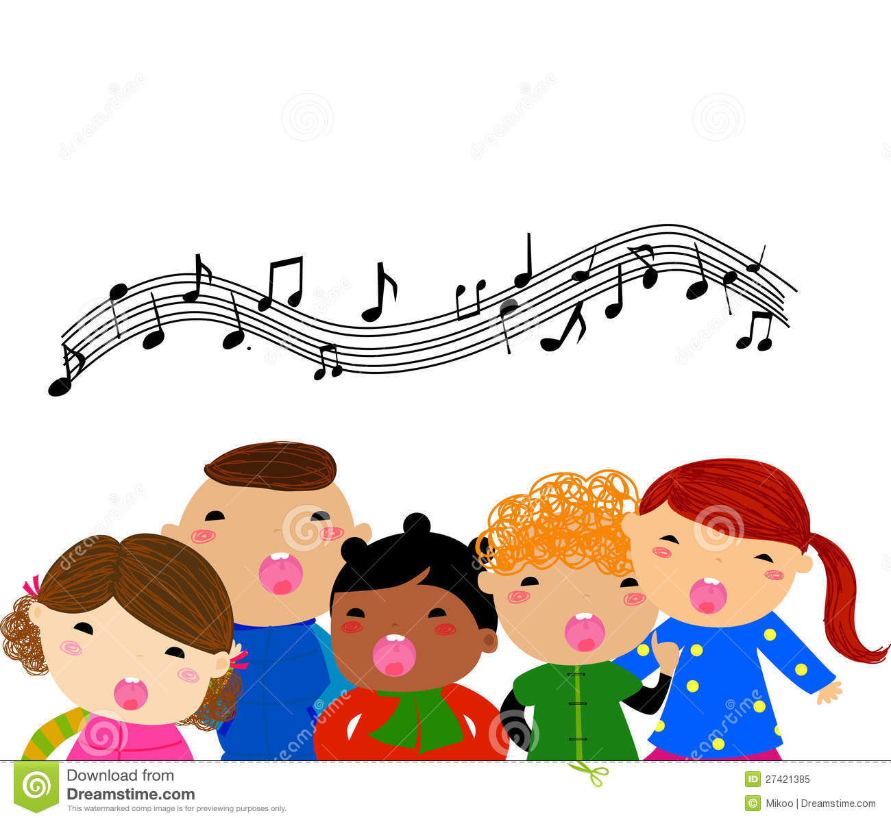 Group of children singing royalty free stock photo image for Canciones para jardin de infantes