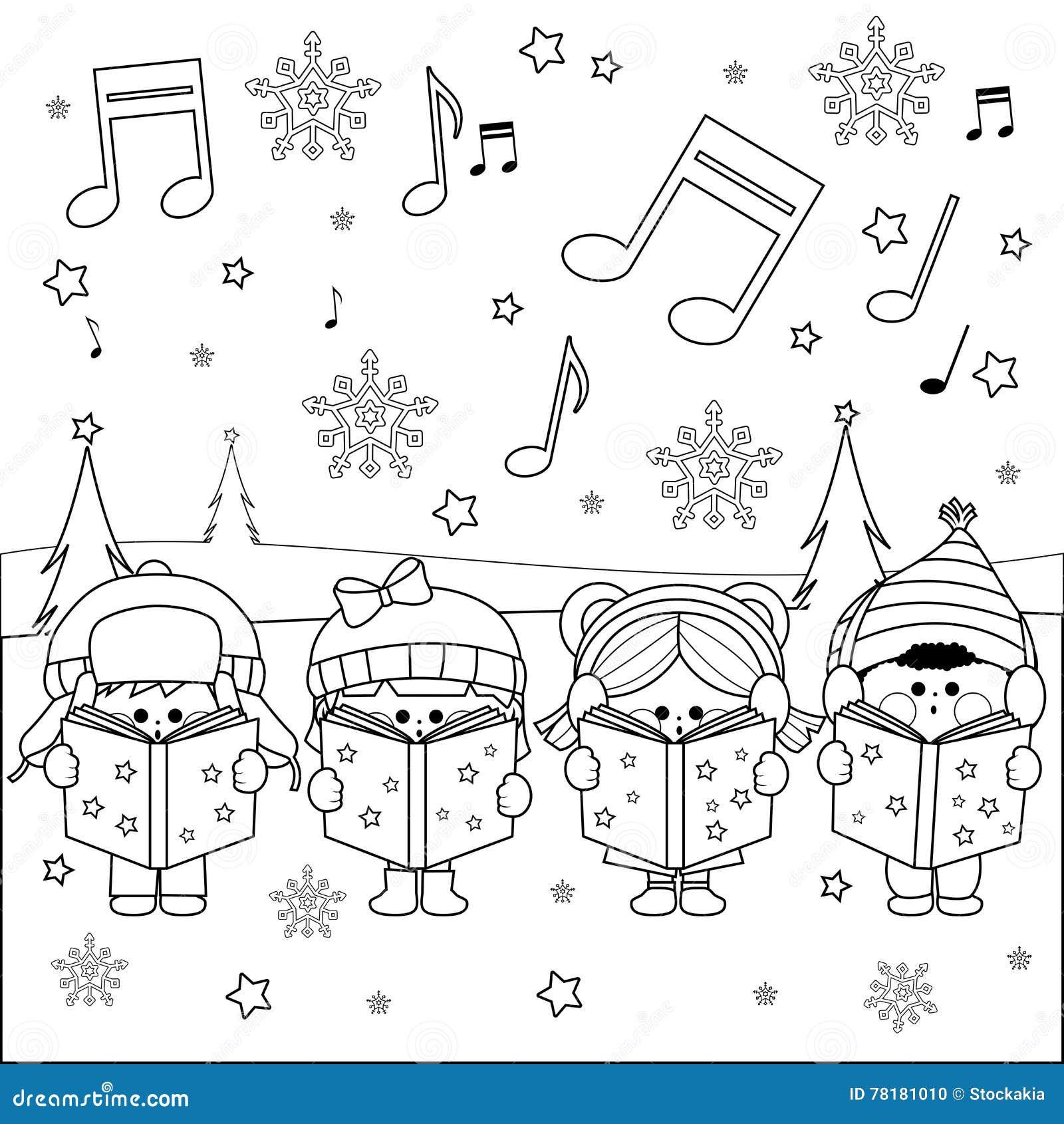 Group Of Children Singing Christmas Carols Stock Vector ...