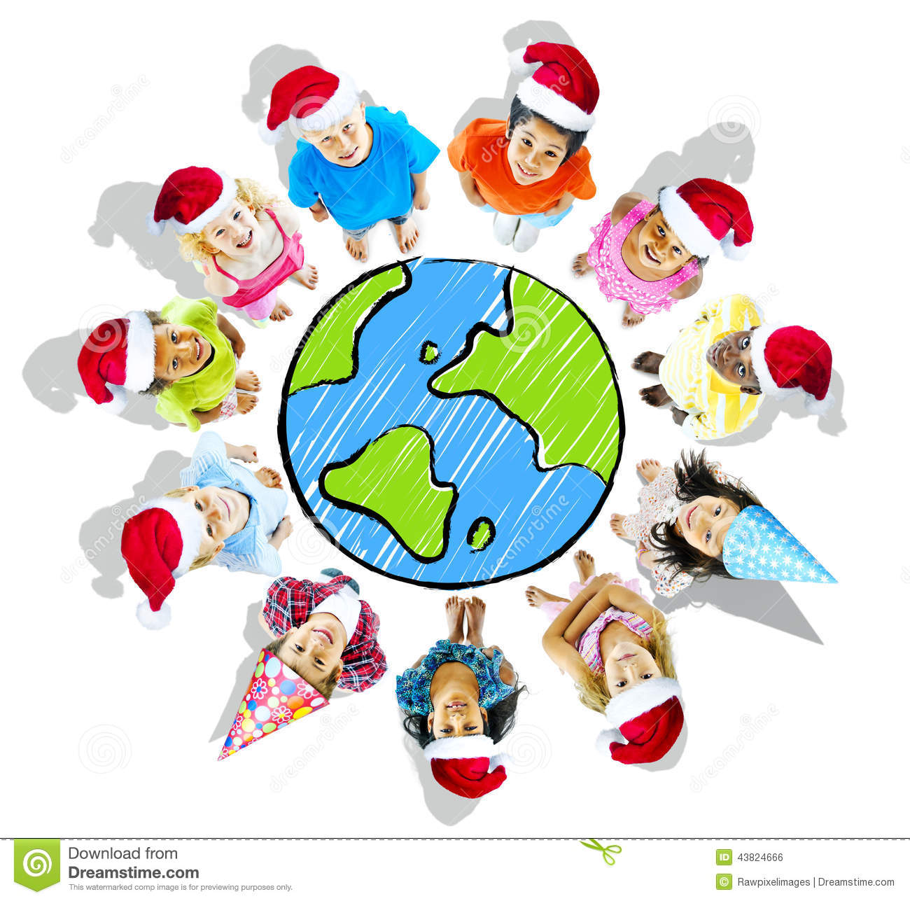 Group of Children Wearing Christmas Hats with Globe
