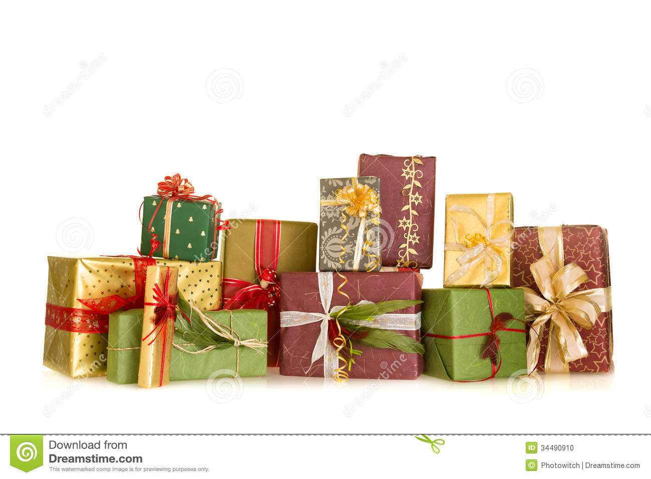 Group Of Christmas Gifts Stock Photo - Image: 34490910