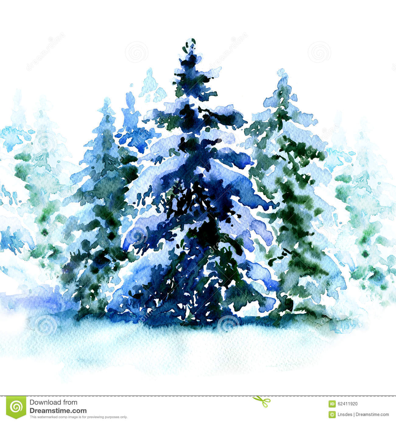 With white christmas background and snow vector vector background - Group Of Christmas Trees Covered Snow In Winter Isolated