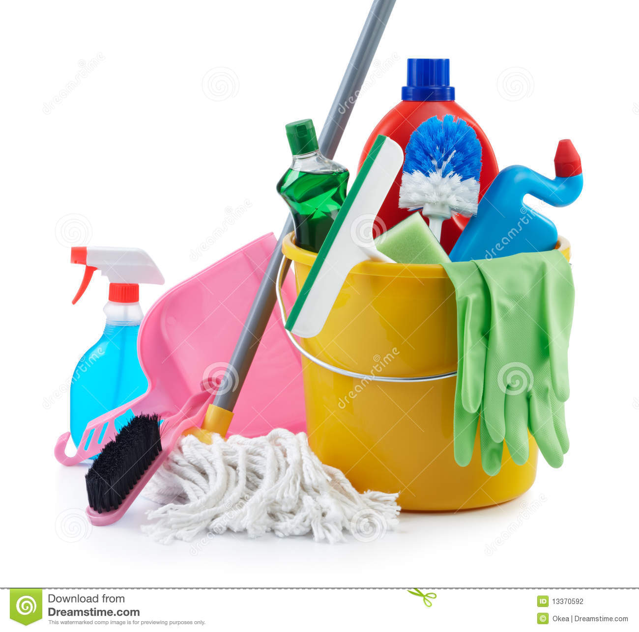 Group Cleaning Services : Group of cleaning products stock photography image