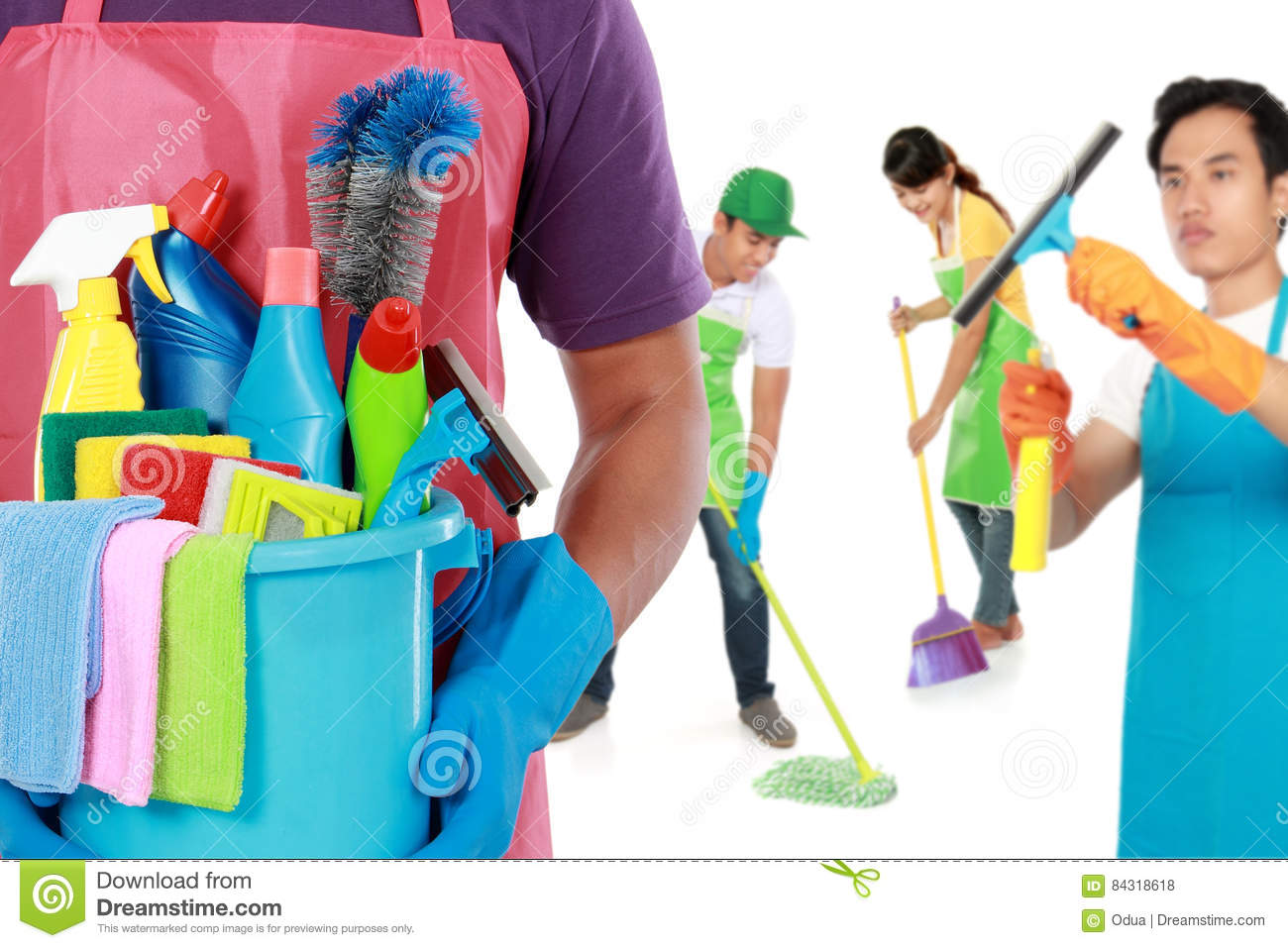Group of cleaning services ready to do the chores
