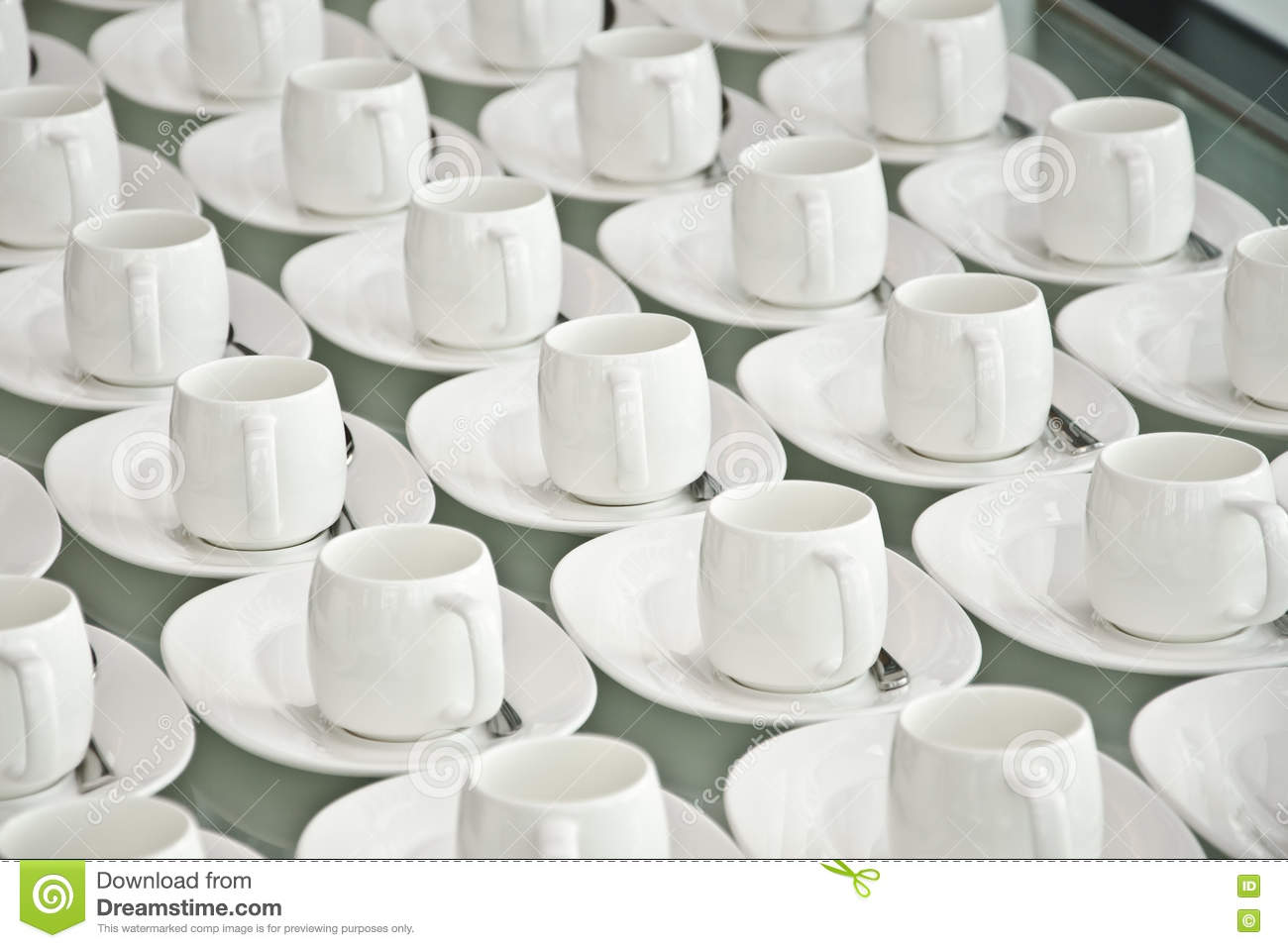 Group of coffee cups.empty cups for coffee.Many rows of white cup for service tea or coffee in breakfast at buffet event.white cup