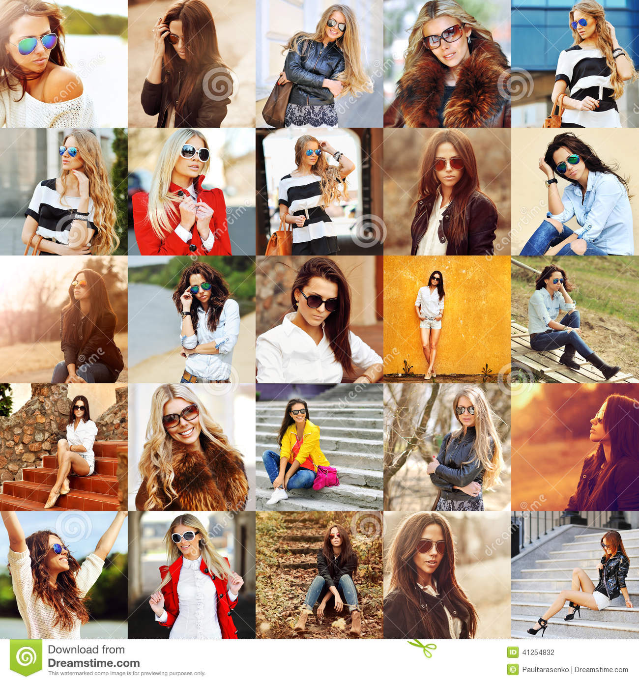 Group collage of fashion women in sunglasses stock photo for Set de table plastifie