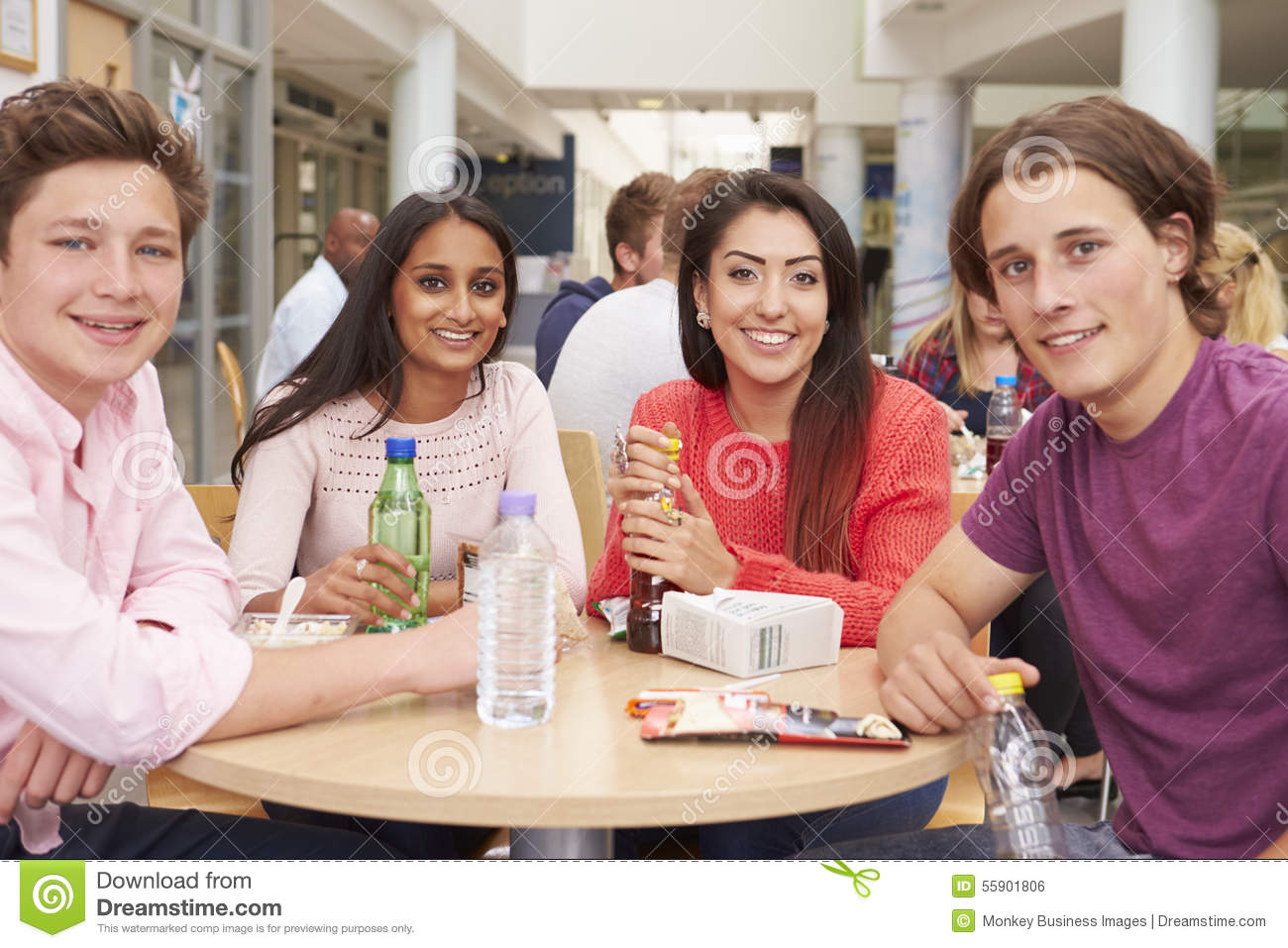 Group of college students eating lunch together stock for Group lunch