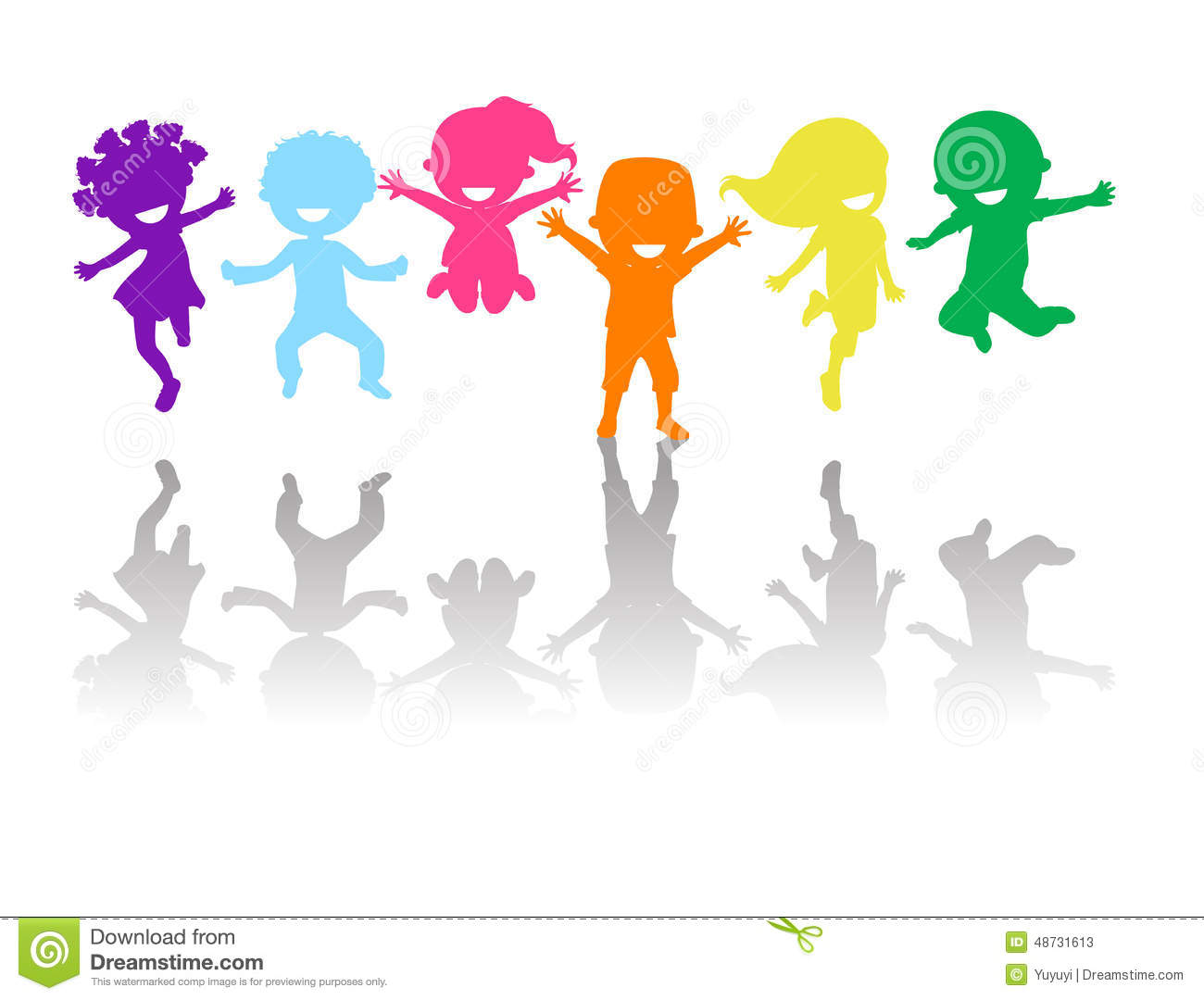 Group Of Color Kids Jumping Stock Vector - Illustration of ...