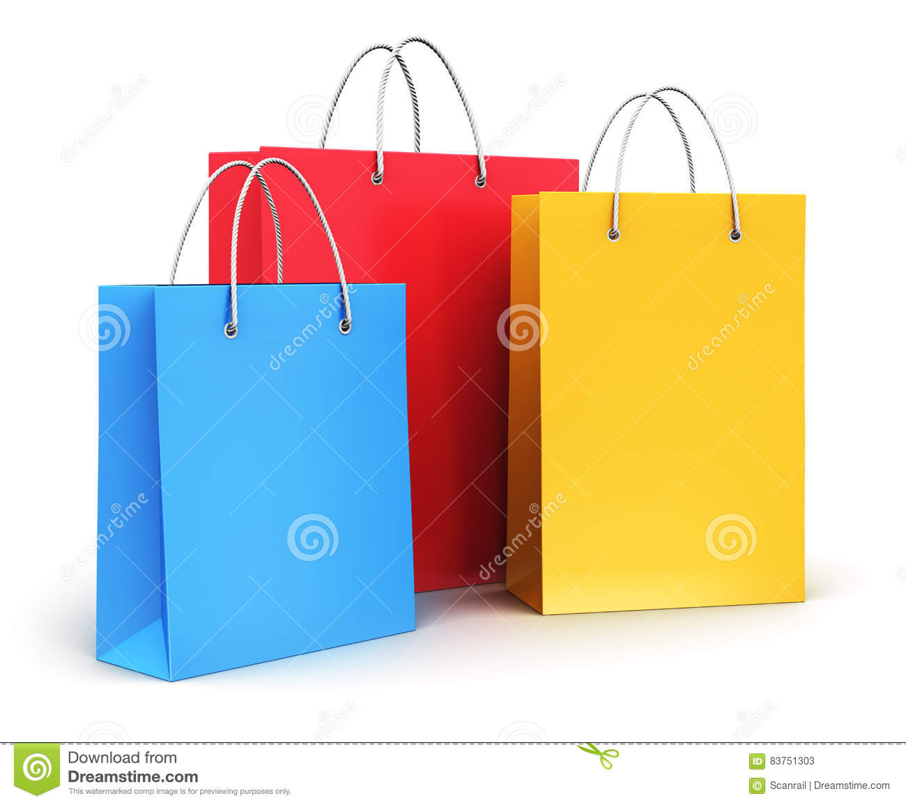 Group Of Color Paper Shopping Bags Stock Illustration - Image ...