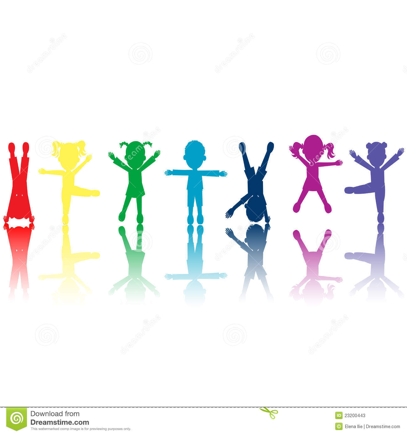 Group Of Colored Kids Silhouettes Stock Illustration - Illustration ...