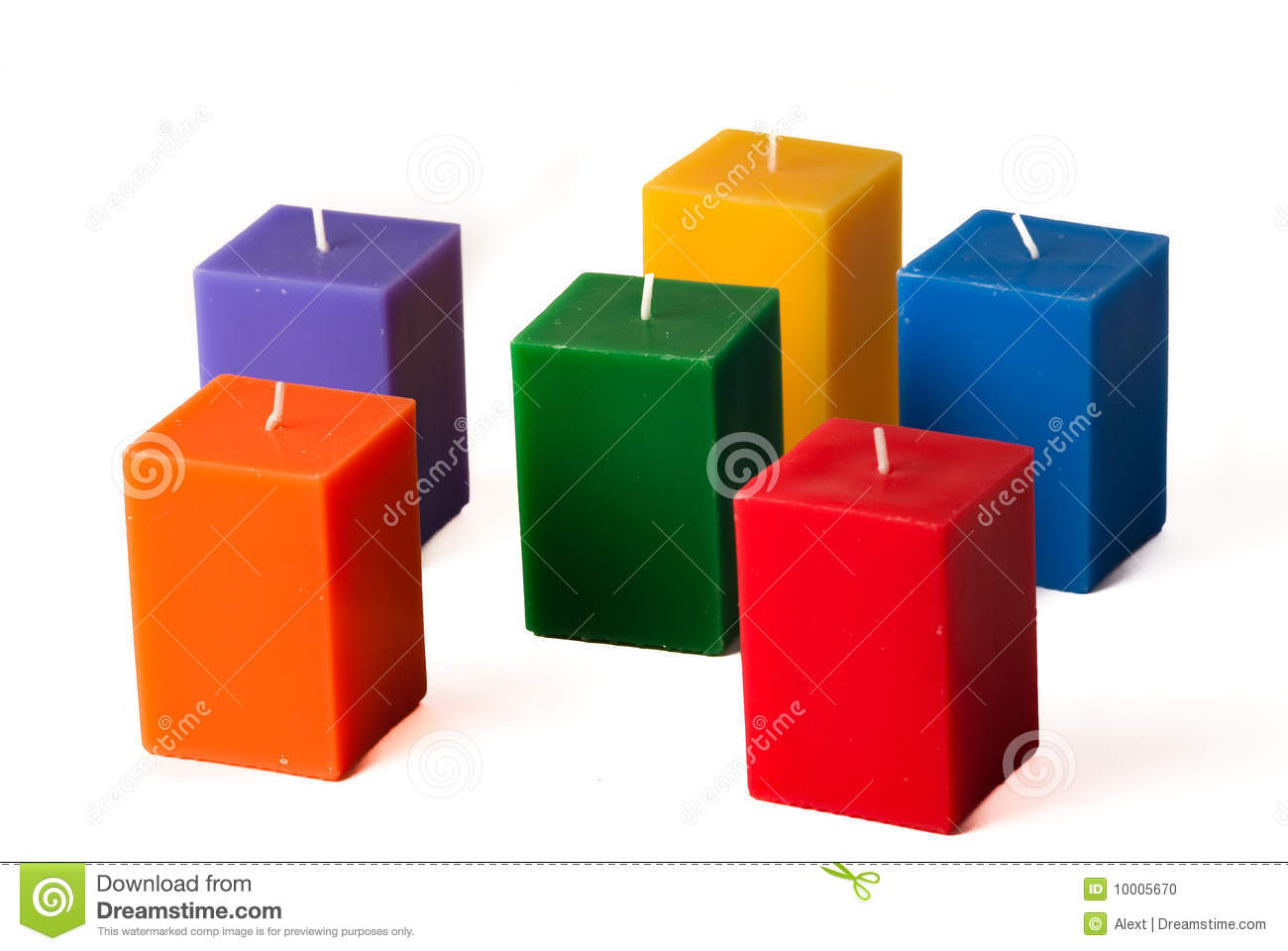 Group of colorful candles isolated in white backgr