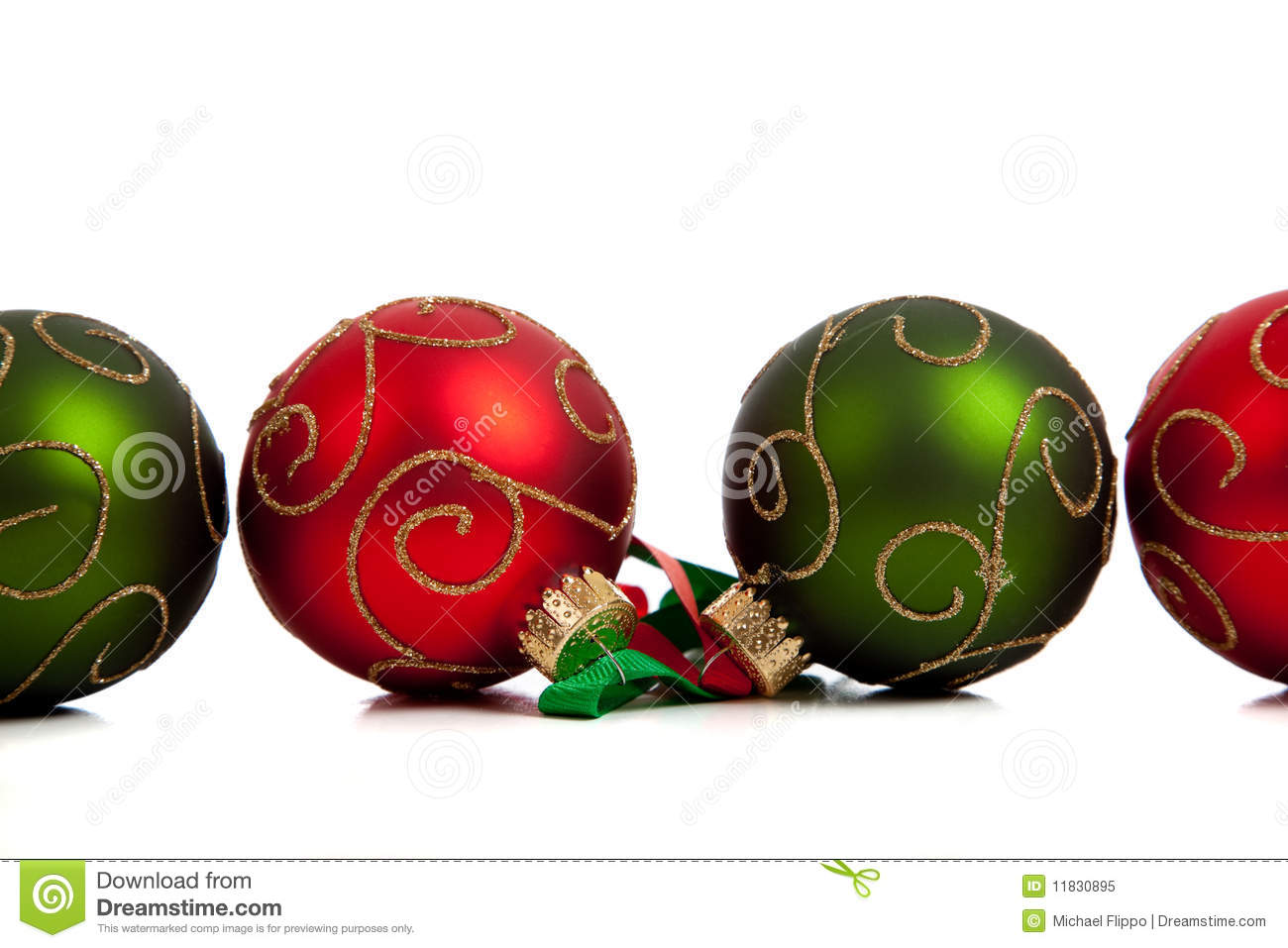 A group of colorful christmas baubles on white royalty for White christmas baubles