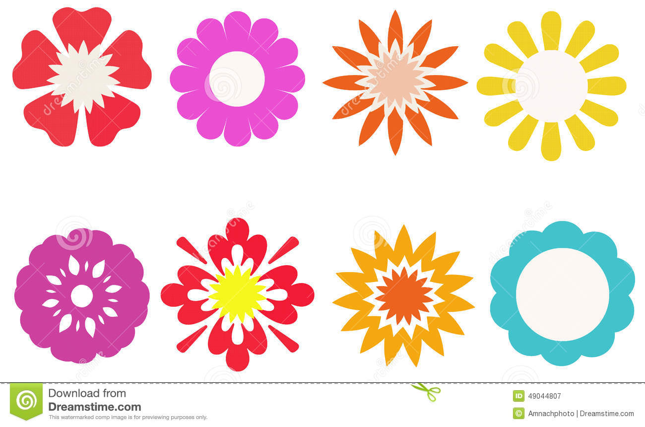 Group Of Colorful Flower For Decorated, Stickers, Labels