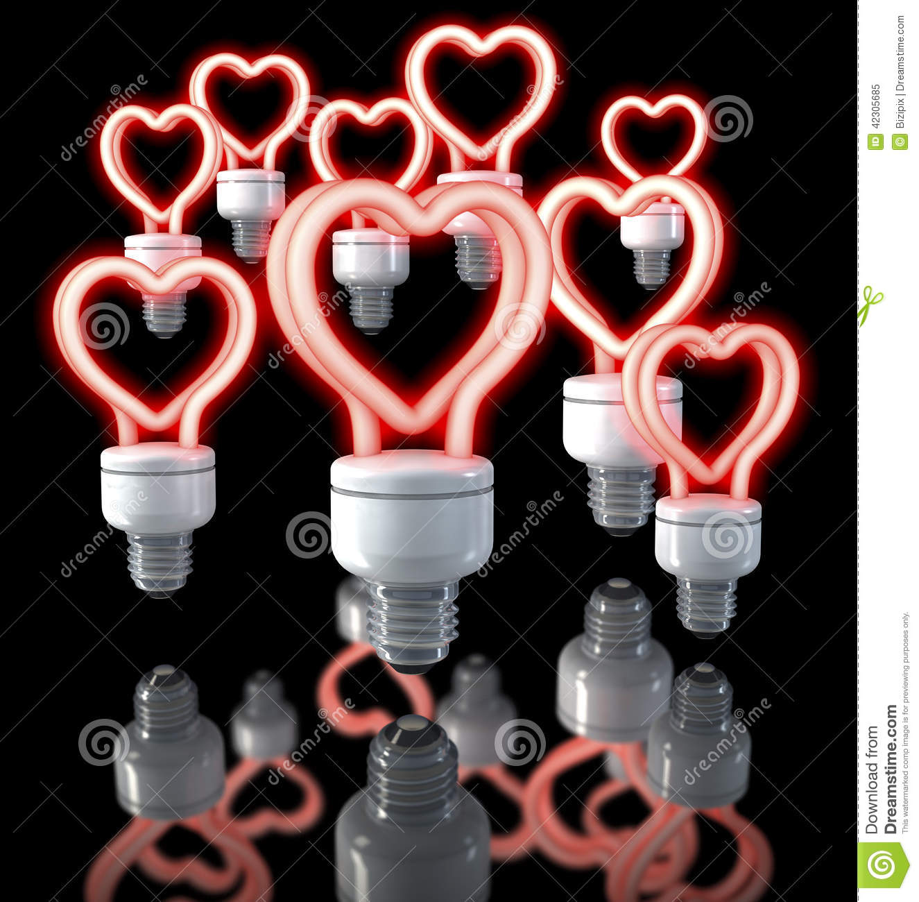 Fluorescent Light Glowing Red: Group Of Colorful Fluorescent Lamps, Heart Shaped, Red