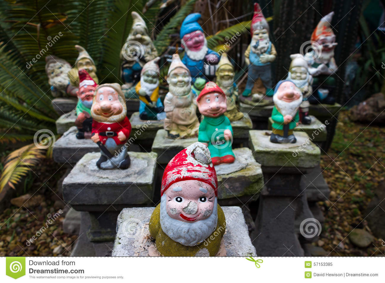 Gardening Group: A Group Of Colorful Garden Gnomes Stock Image