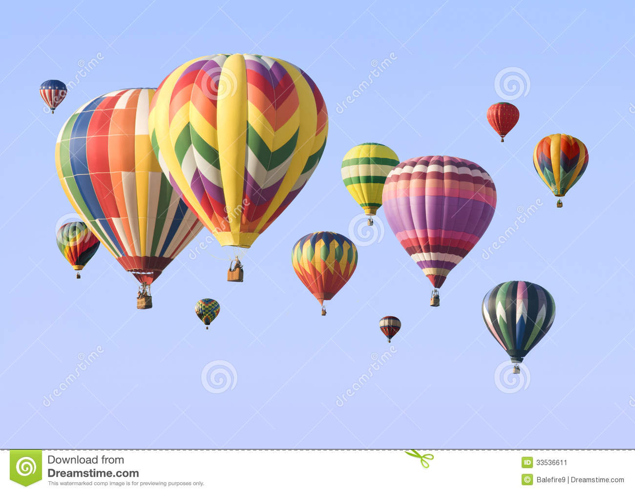 A Group Of Colorful Hot-air Balloons Floating Stock Image ...