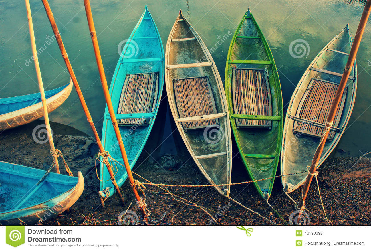 Group of colorful rowing boat, abstract curve