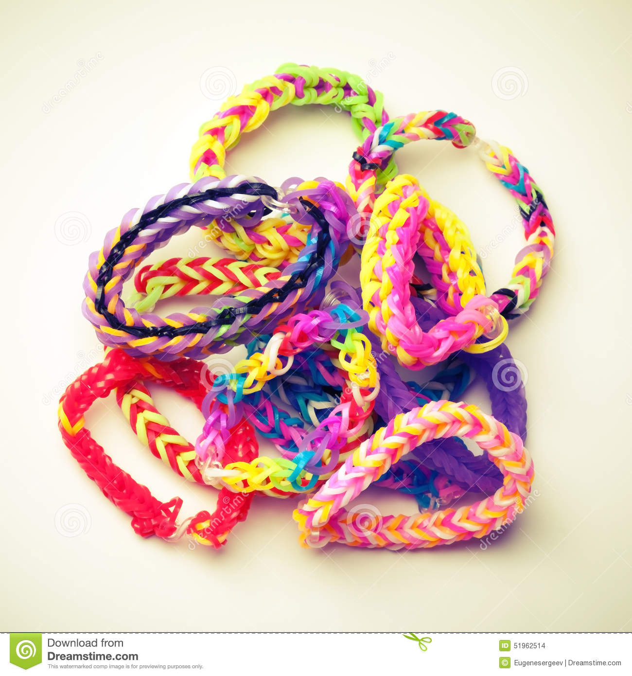 Group Of Colorful Rubber Band Bracelets Isolated On White Stock Photo