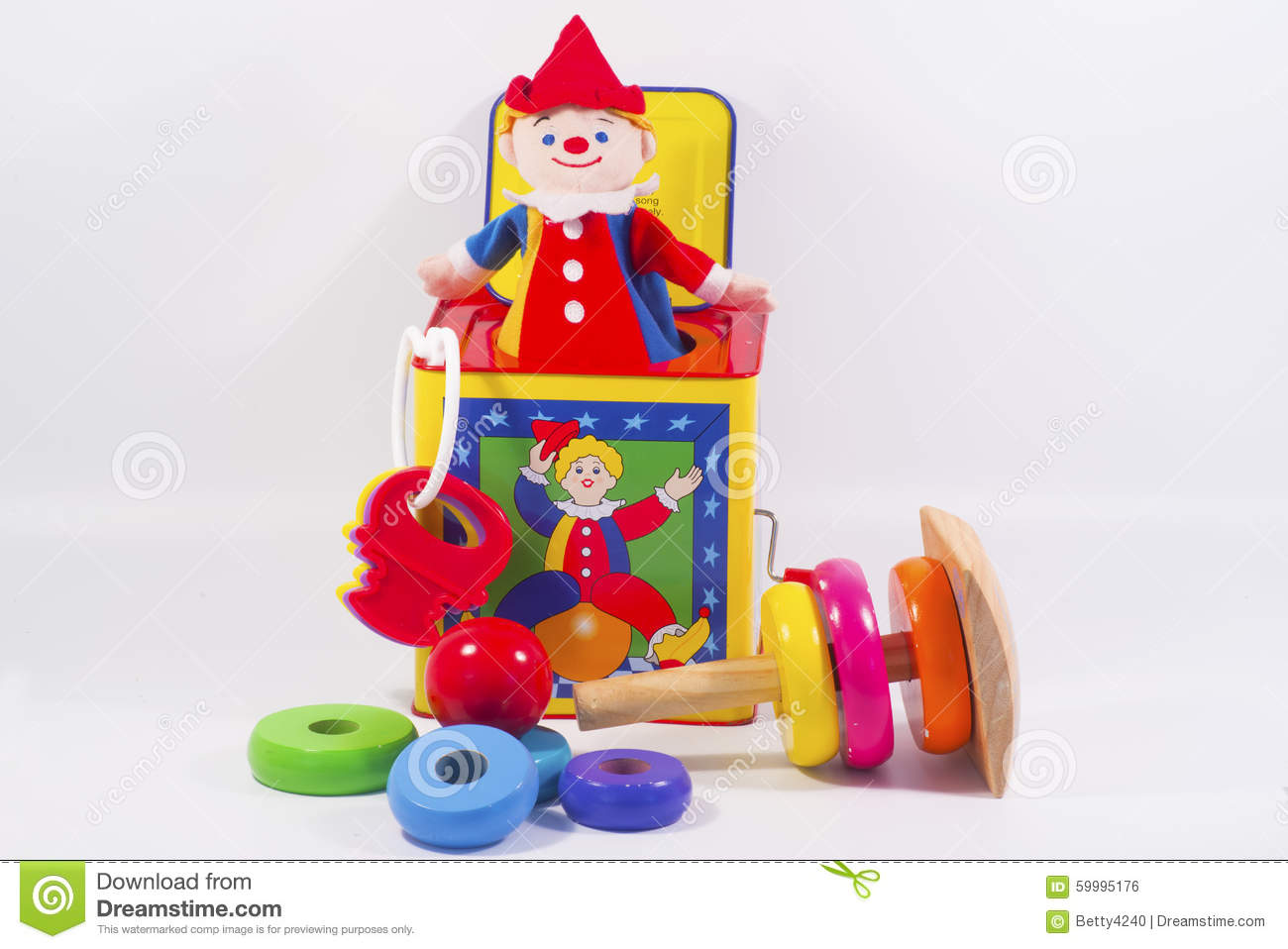 Toys For Groups : Group of colorful toys with white background stock photo
