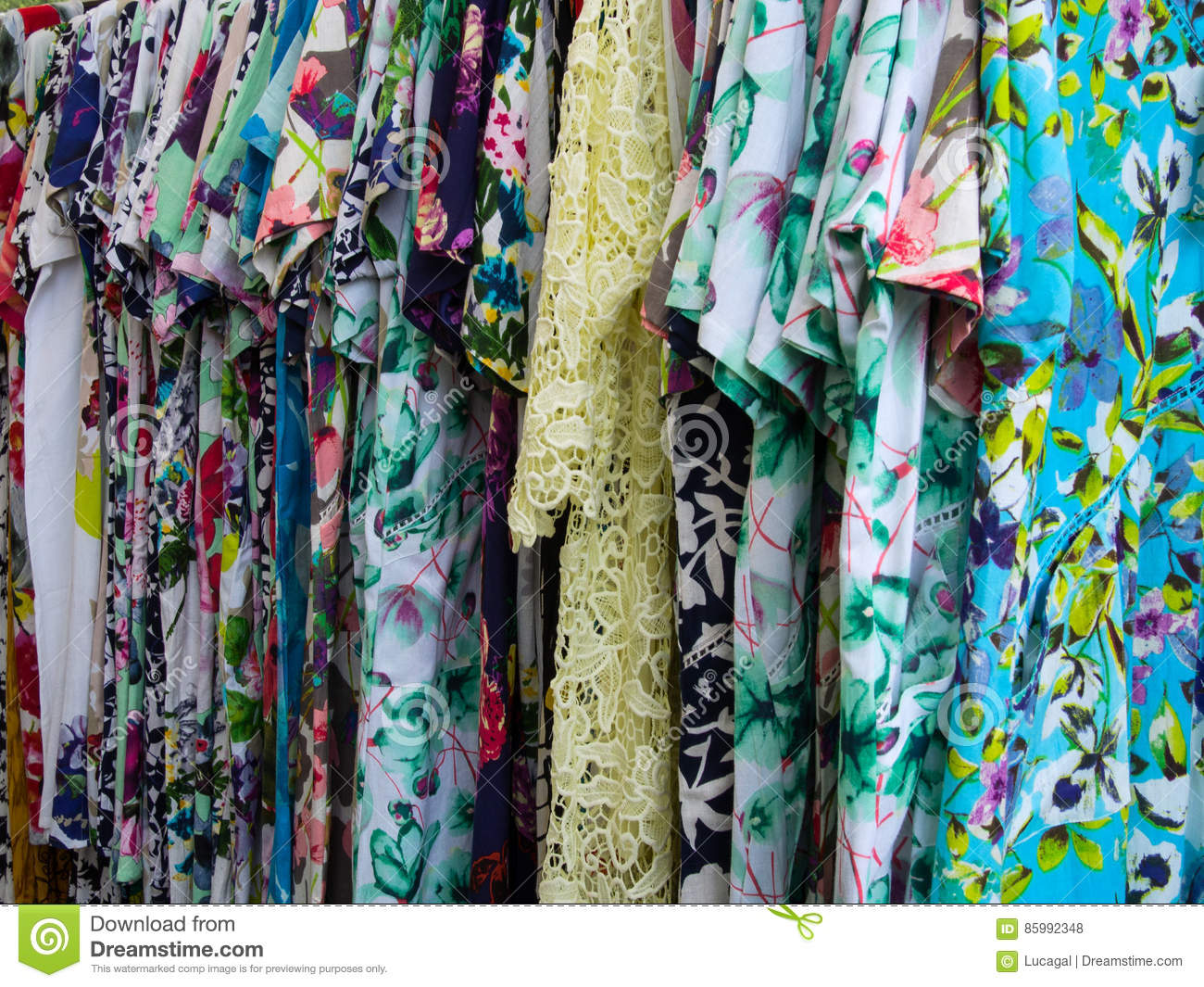 Group Of Colorful Woman`s Clothes On A Rack Stock Photo ...