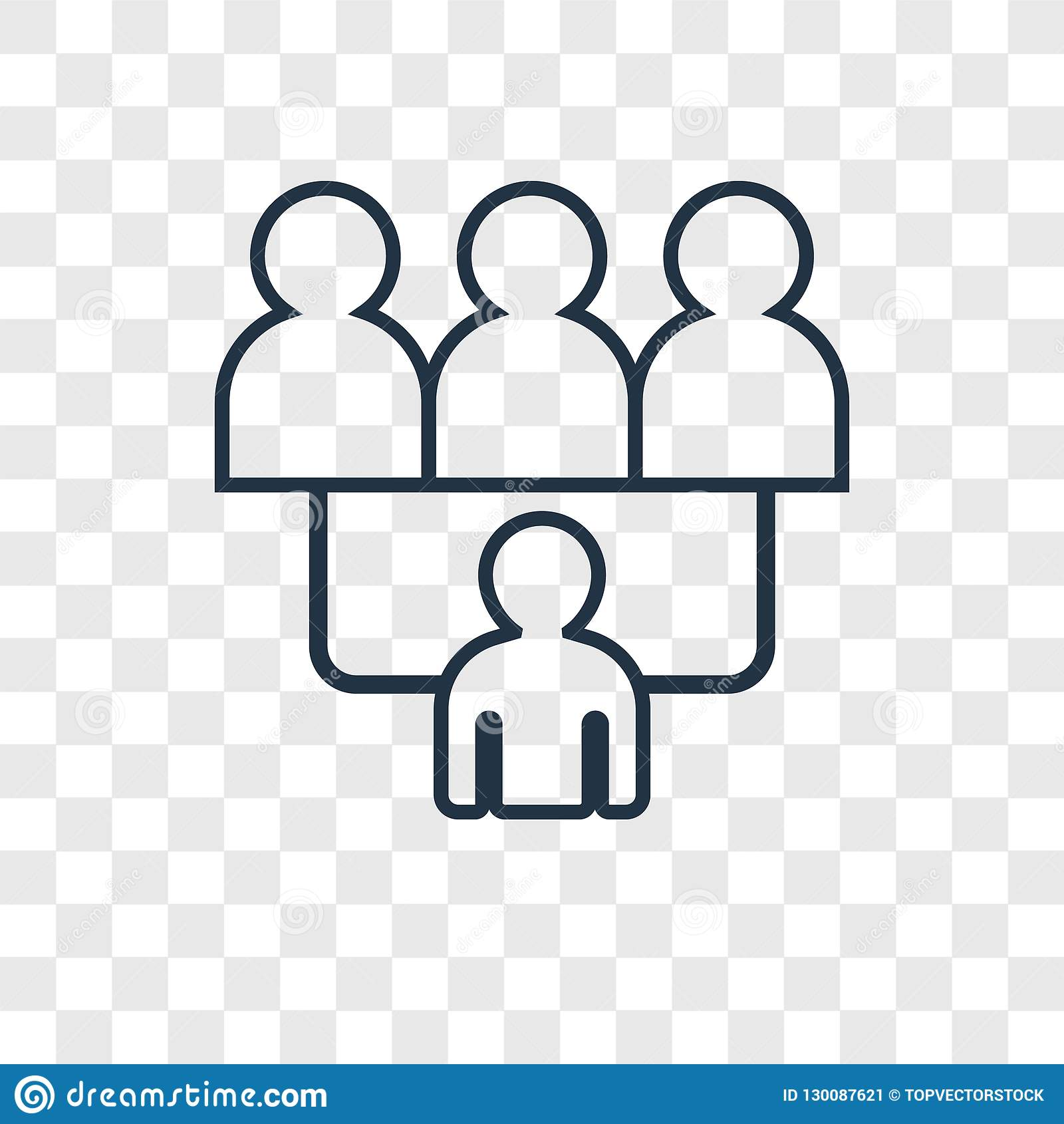 Group Concept Vector Linear Icon Isolated On Transparent Background Group Concept Transparency Concept In Outline Style
