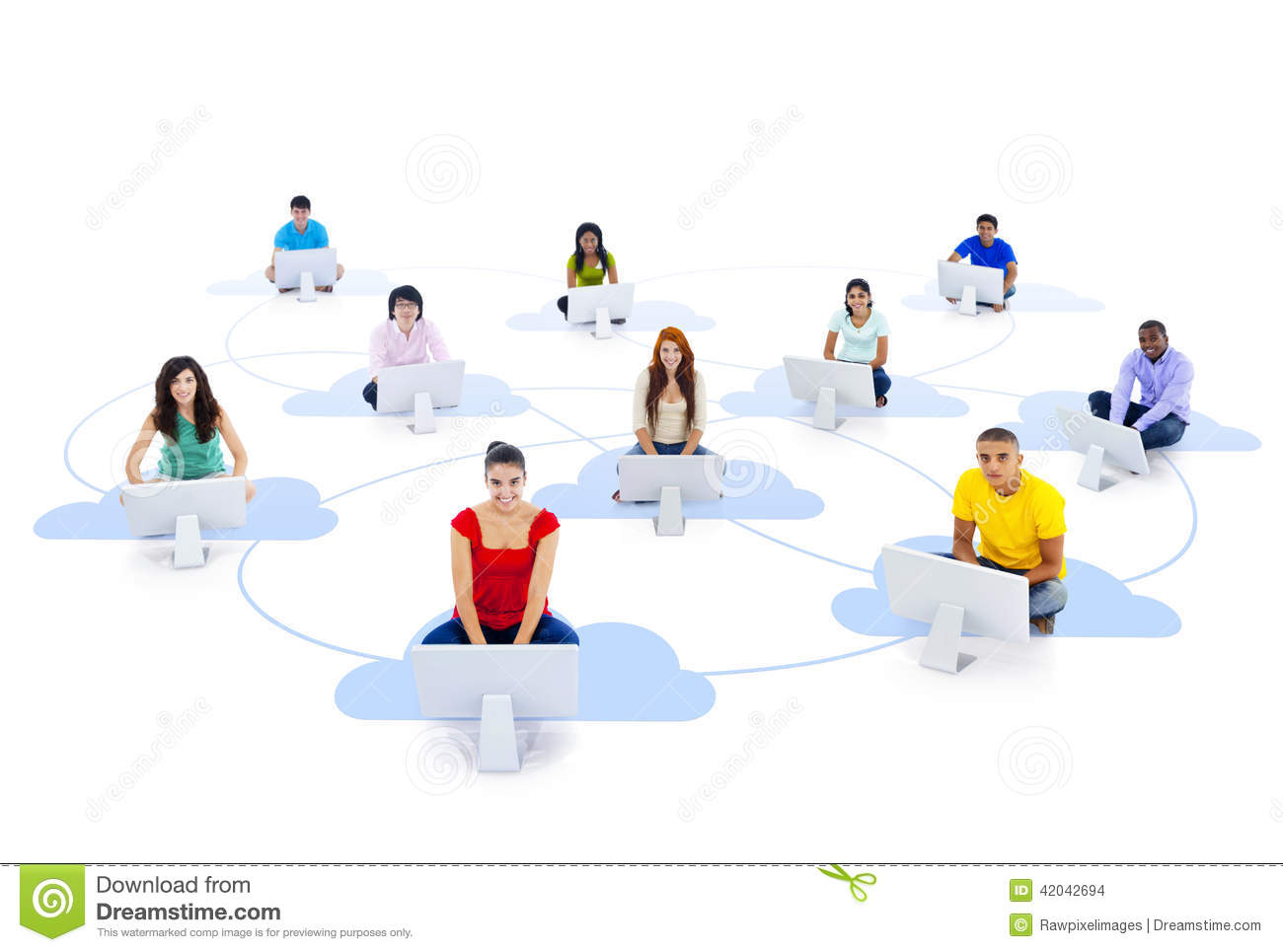 Computer Connected By 2 People : Group of connected multi ethnic people sitting on a cloud