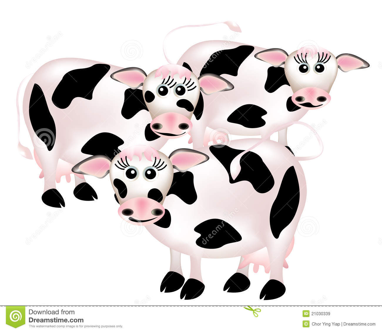 Group Of Cows, Cartoon Royalty Free Stock Images
