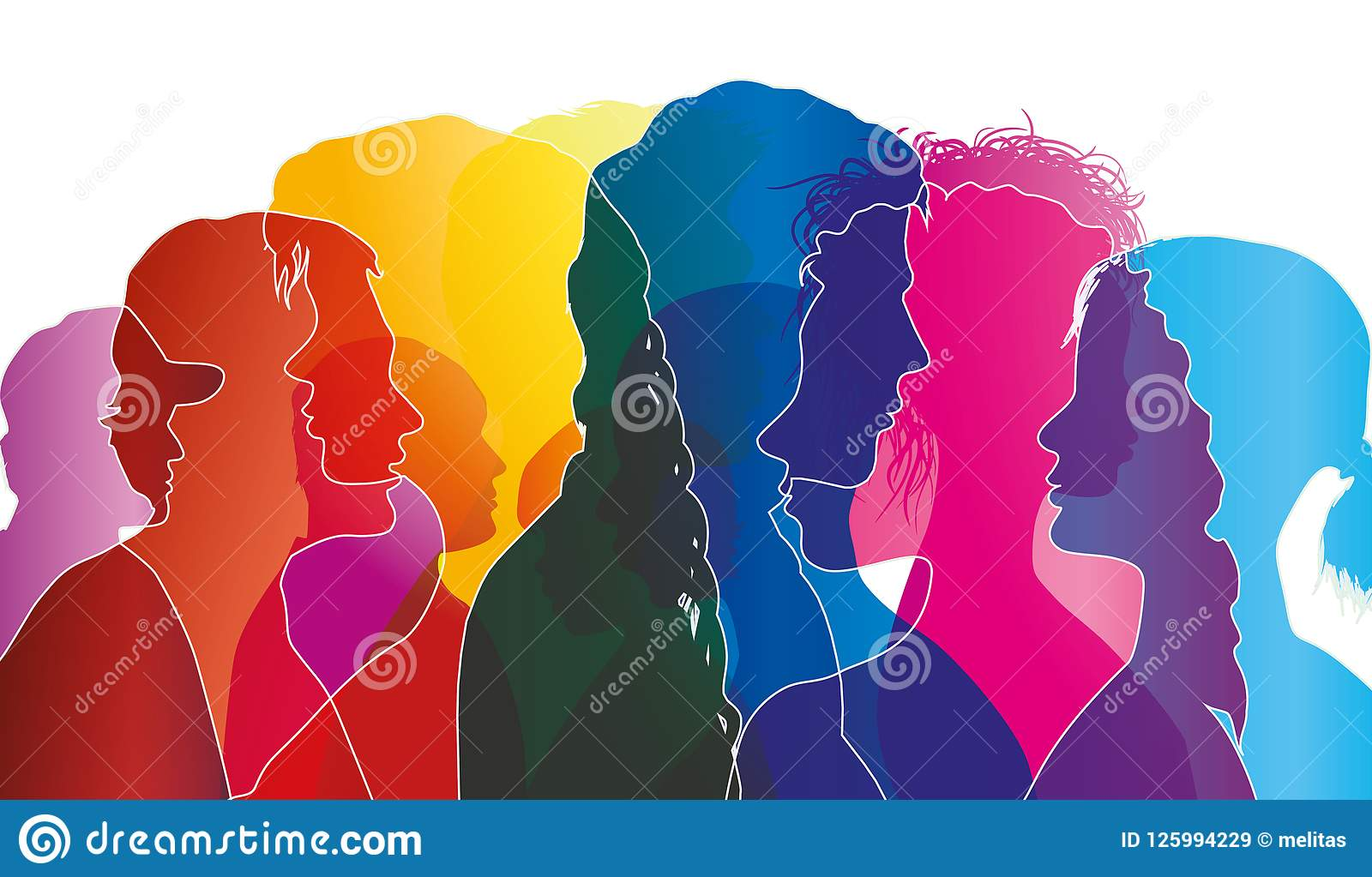 abstract vector group of crowded people mob of people confusion of