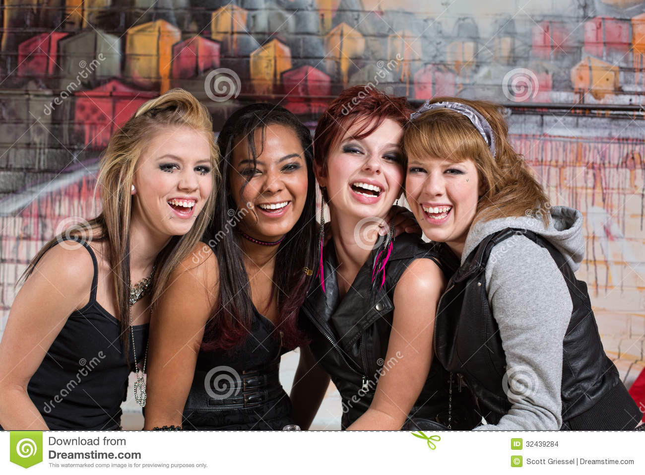 Group Of Cute Teens Laughing Stock Photo Image 32439284