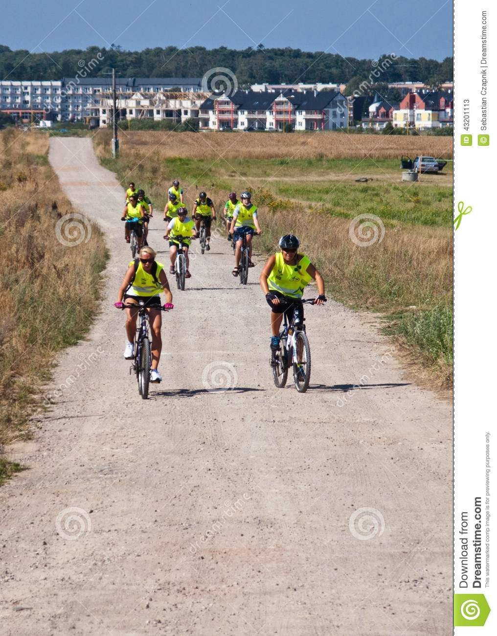 Group of cyclists in Northern Poland