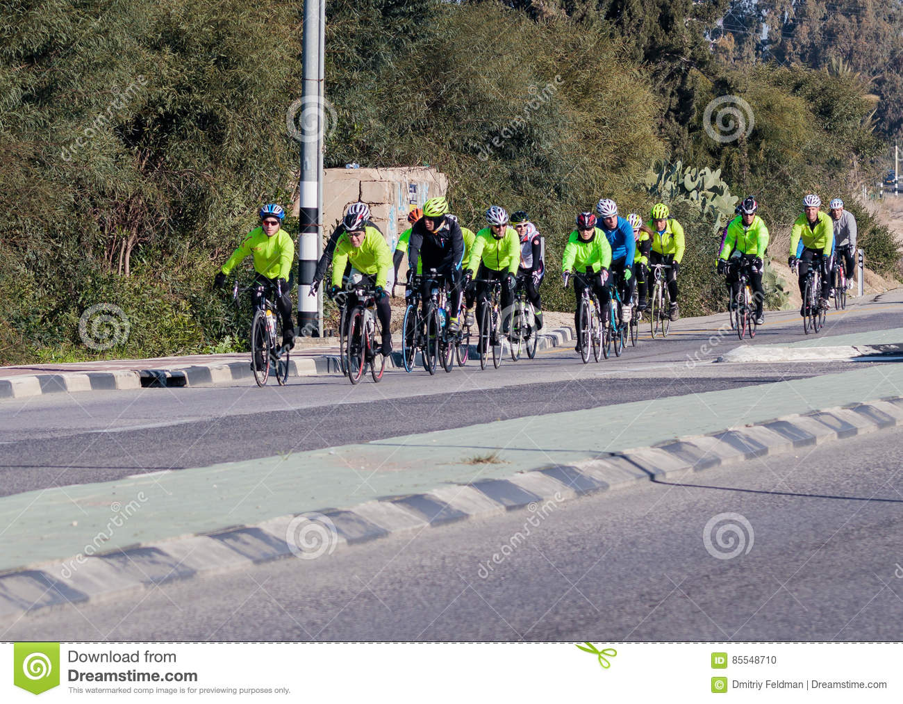 8b6827824 Group Of Cyclists On Winter Morning Trains On Intercity Road ...