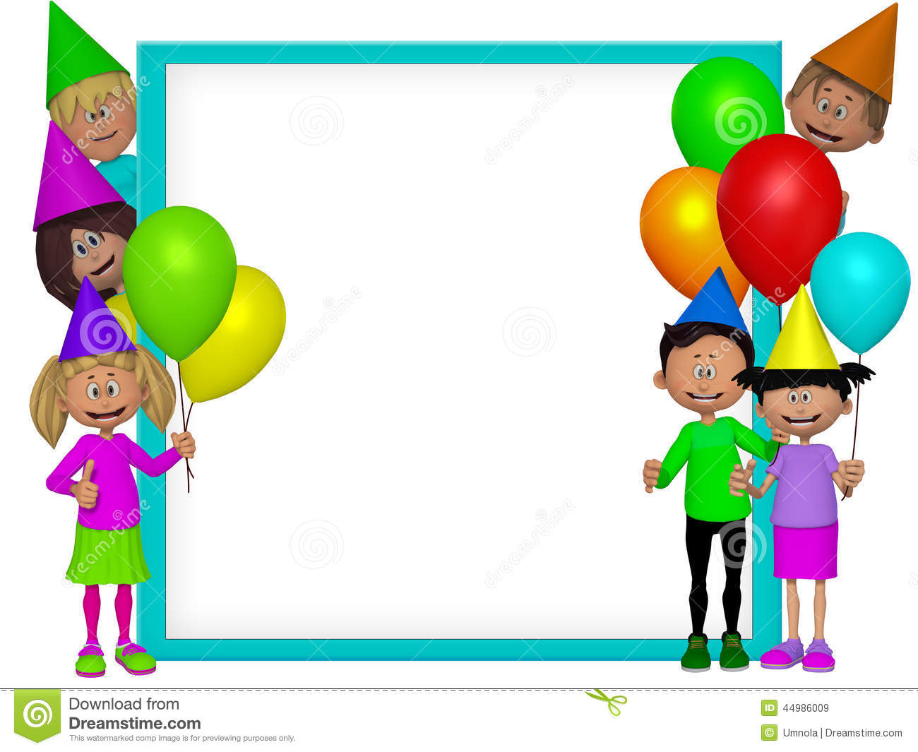 Group Of 3d Party Kids Frame
