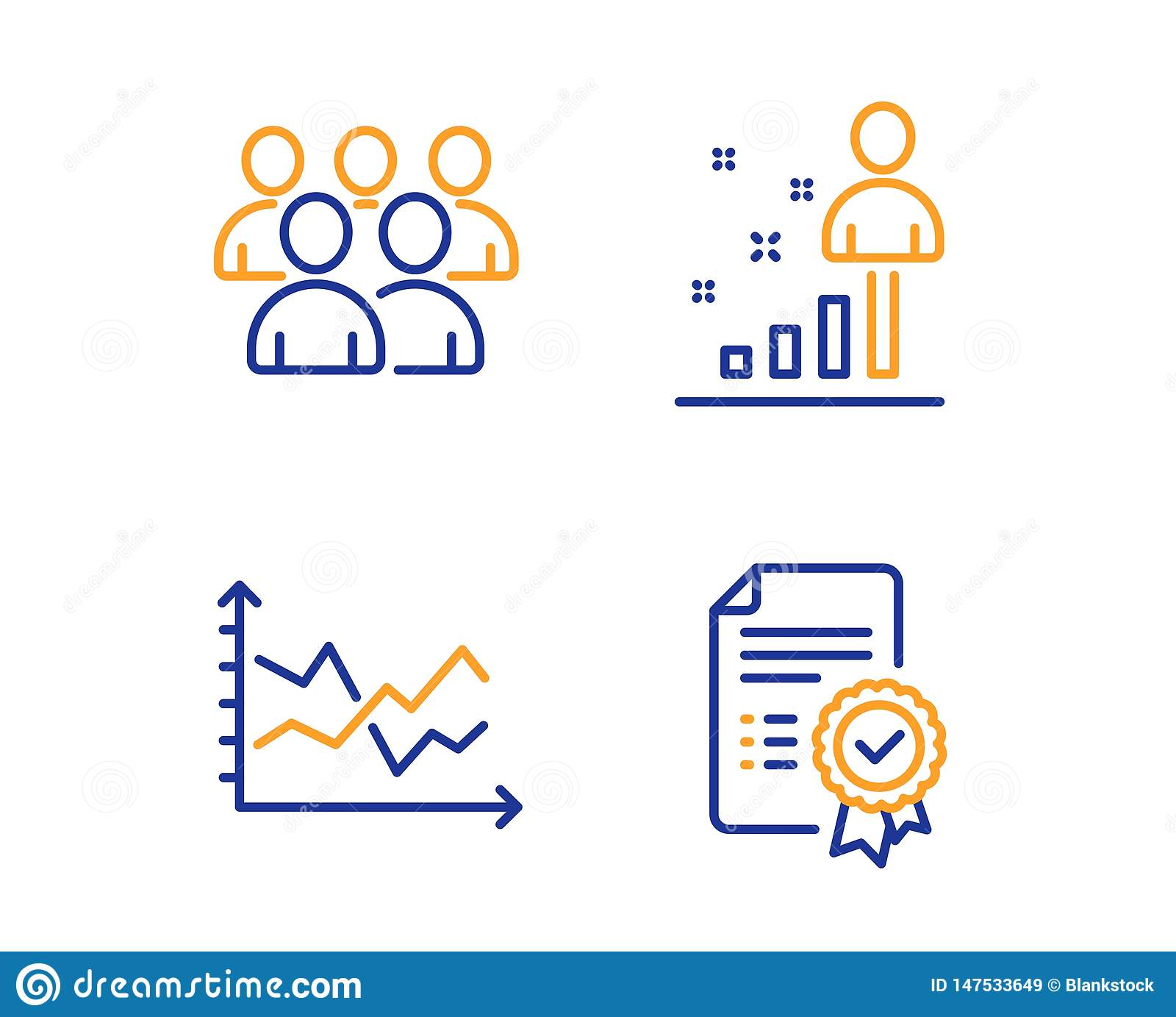 Group  Diagram Chart And Stats Icons Set  Certificate Sign