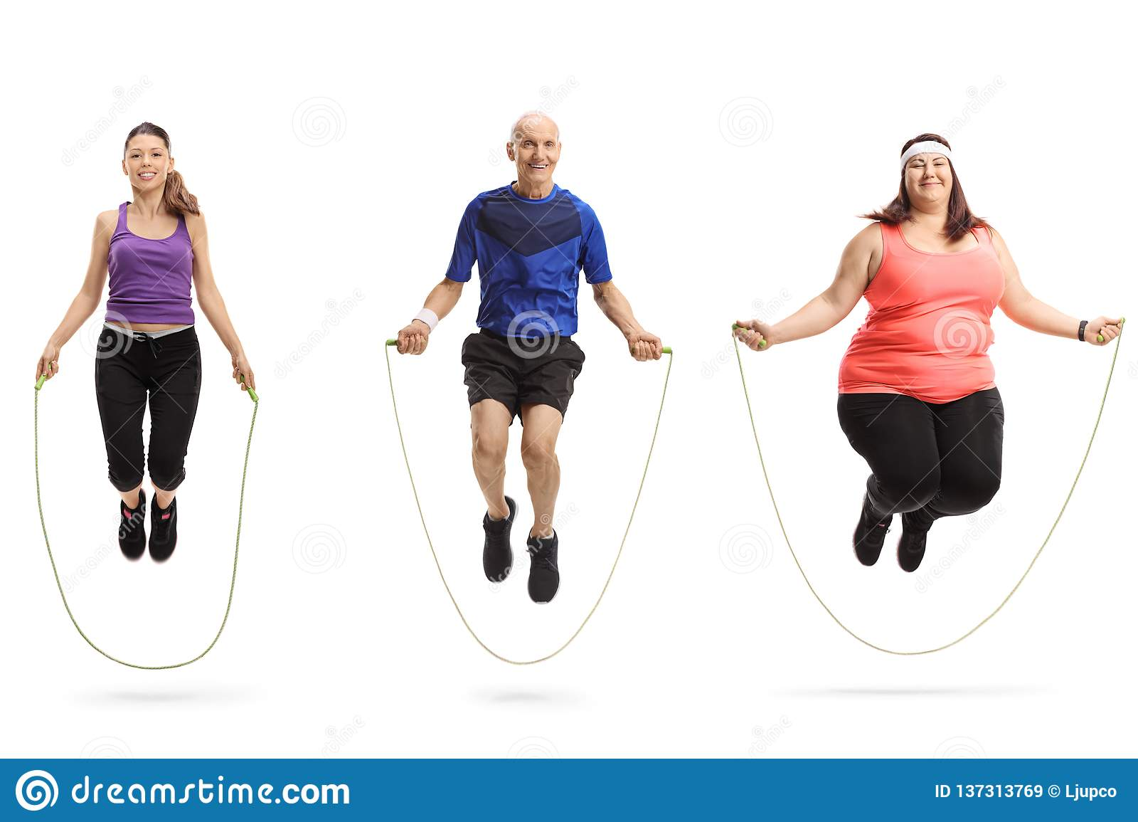 Group Of Different People Jumping With A Skipping Rope ...