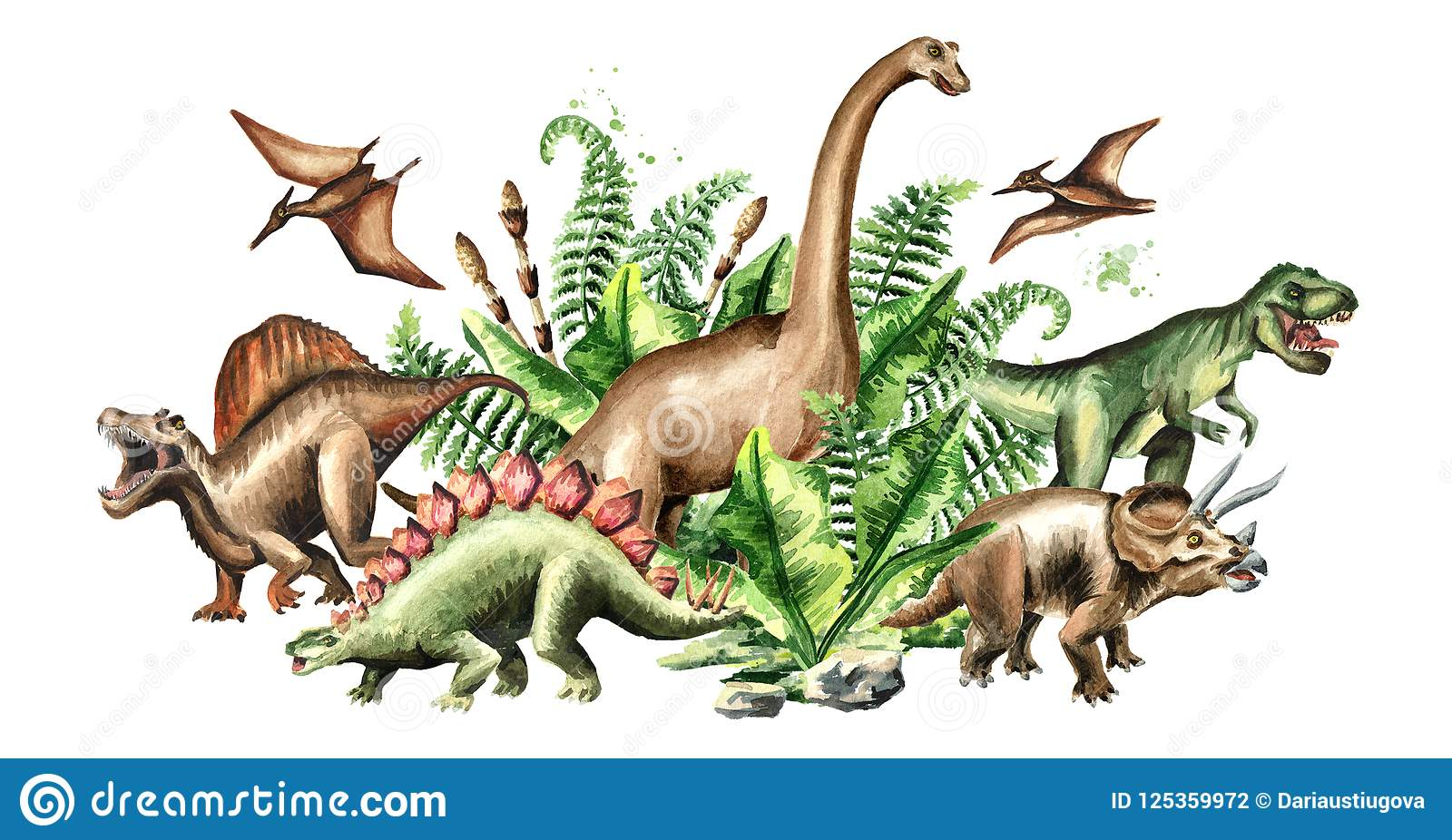 Group of dinosaurs with prehistoric plants. Watercolor hand drawn illustration isolated on white background.