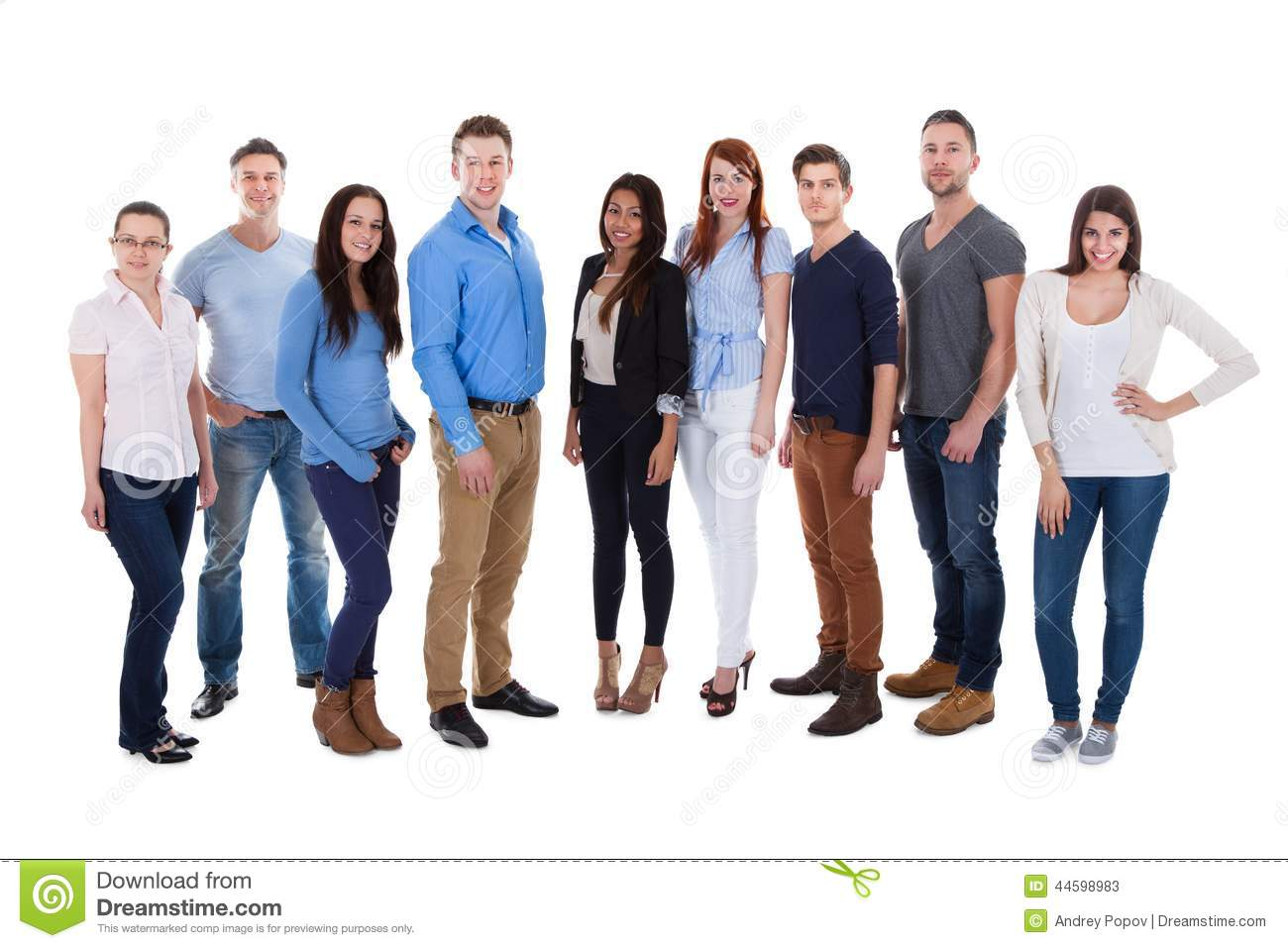 happy and diverse volunteer group stock image
