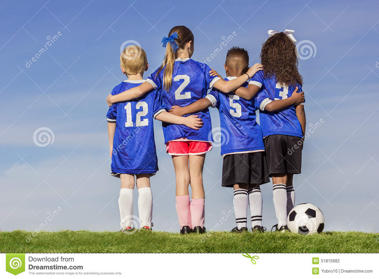 Group Of Diverse Young Soccer Players Stock Photo Image