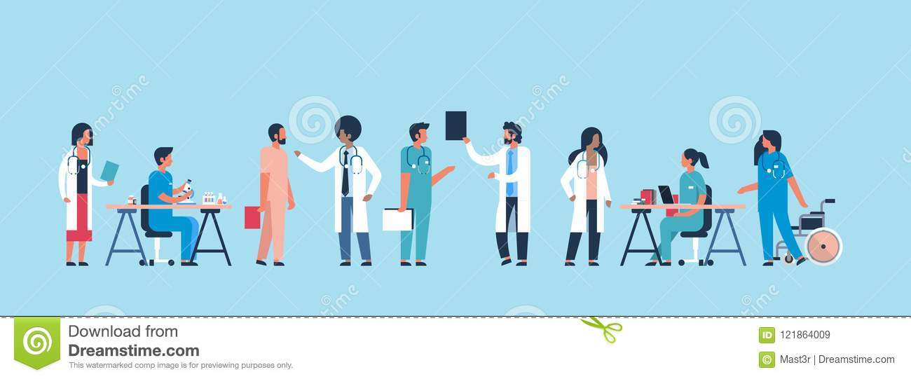 Group doctors hospital communication making scientific experiments diverse medical workers blue background flat banner