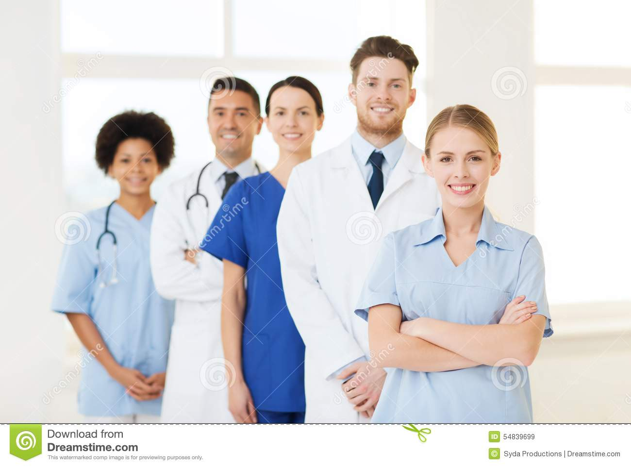 Group Of Doctors And Nurses At Hospital Stock Photo - Image: 54839699