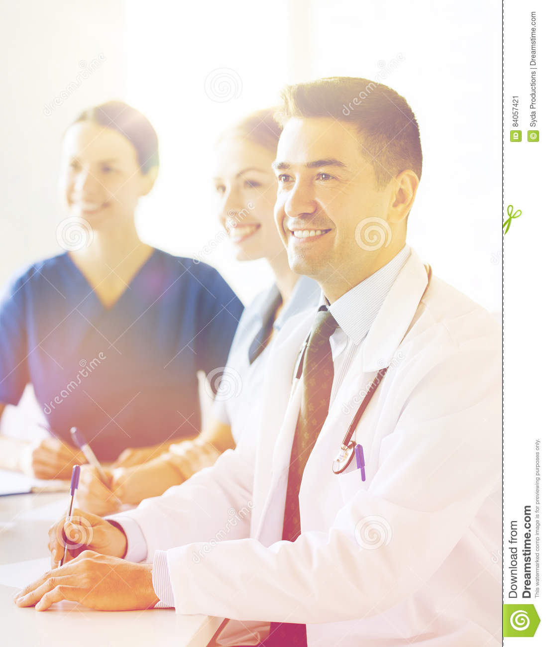 group of doctors on presentation at hospital stock image image of