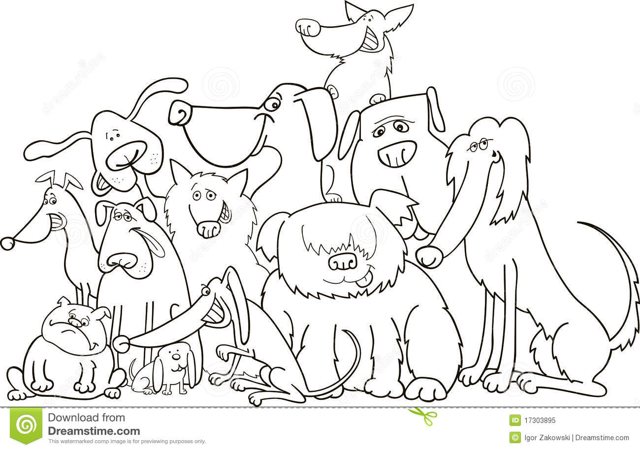 Group of dogs for coloring stock vector. Illustration of ...